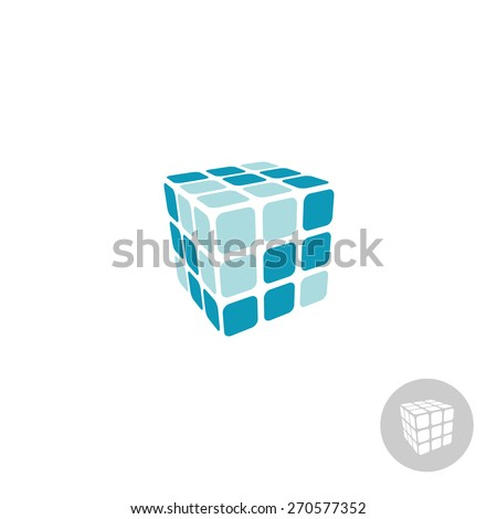 3d cube digital logo with faces - stock vector