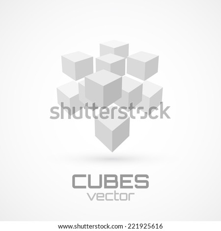 3d cube icon. Logo template. Vector illustration - stock vector