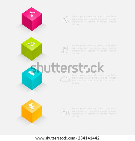 3d cube infographics. Vector illustration can be used for workflow layout, diagram, web design. - stock vector