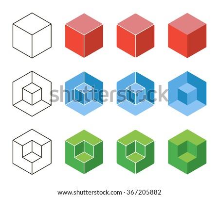 3d Cube isometric logo concept. Abstract square logo template. Corner geometric shape, symmetric symbol, square icon, box logo, box square shape. Company logo. Outline design.  - stock vector