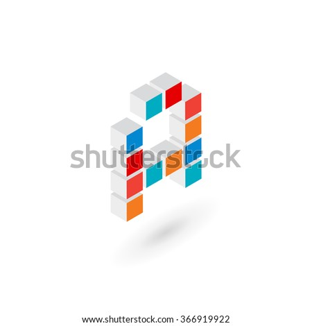 3d cube letter A logo icon design template elements