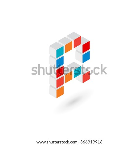 3d cube letter R logo icon design template elements