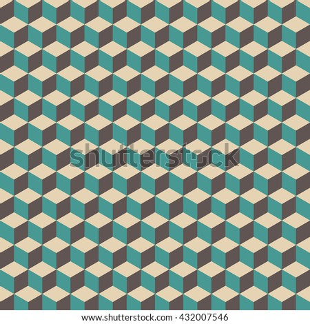 3d cube pattern, vintage and retro background - stock vector