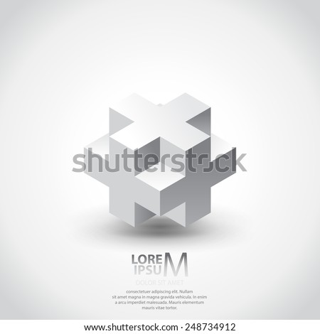 3D cube plus logo design. Science, medicine or technological symbol, icon, template - stock vector