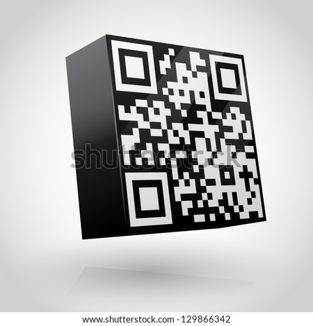 3D cube with QR code vector illustration. - stock vector