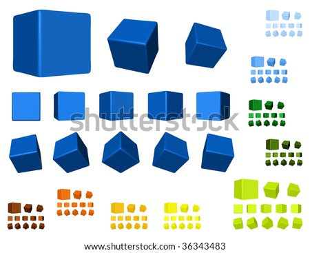 3d cubes color variations - stock vector