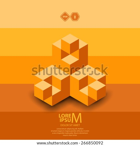 3D cubes logo design. Science or technological symbol, icon, template - stock vector