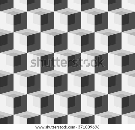 3D cubes spatial seamlessly repeatable monochrome pattern - stock vector