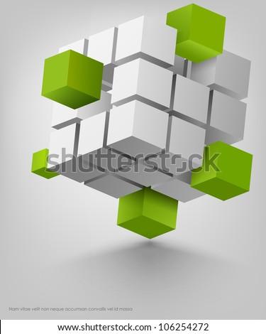 3d cubes vector - stock vector