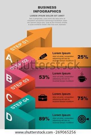 3d curved arrow color part of the data / vector infographics - stock vector