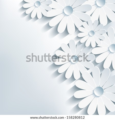 3d cut paper flower chamomile, stylish abstract background. Floral vector gray background. Vector illustration - stock vector