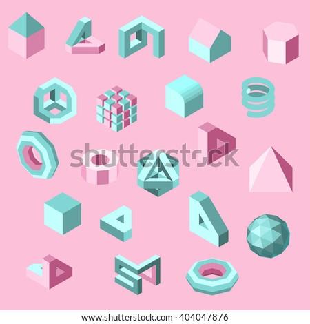 3D Cute Sweet Pattern Design Simplify Low Polygon - stock vector