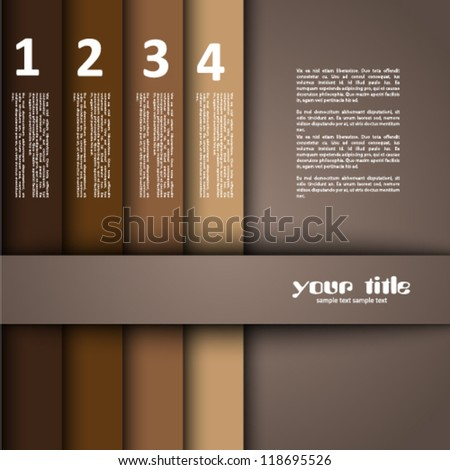 3d design with brown numbered banners - stock vector