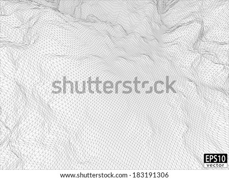 3D Detailed Wireframe (Wide Angle) | EPS10 Vector - stock vector