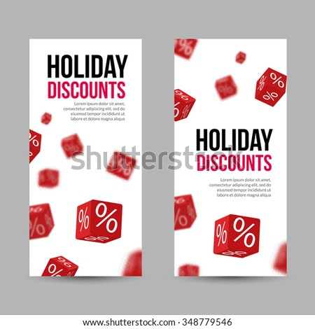 3D Discount Holiday SALE Red Box Banners for Business Designs - stock vector