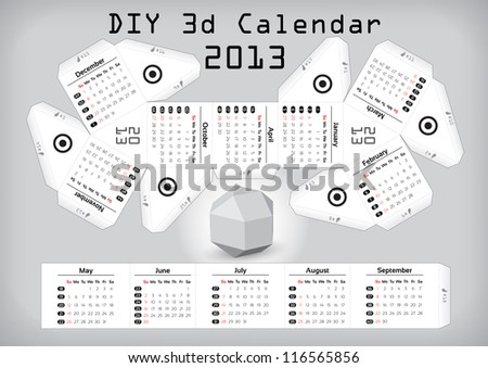 3d DIY Calendar 2013 � Compiled size: 3,1��2,9 inch - stock vector