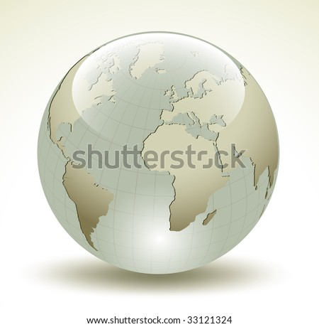 3D Earth glossy sphere - vector illustration - stock vector
