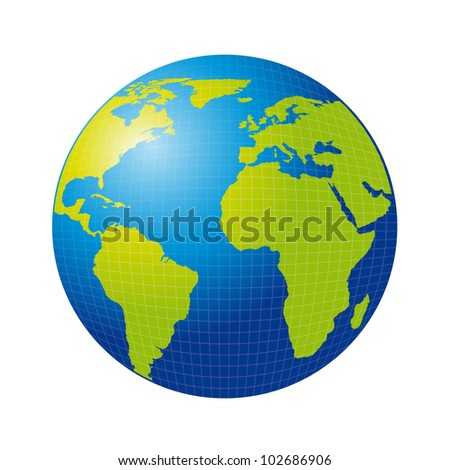 3d earth isolated over white background. vector illustration - stock vector