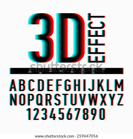 3D effect alphabet and numbers. Vector. - stock vector