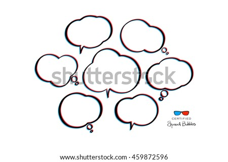 3d effect speech bubbles isolated on white background. vector cloud icons. new idea text box. stereoscopic chatting bubble. 3d illusion dialog frames