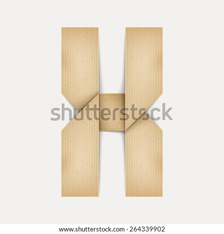 3d elegant folded paper letter X isolated on beige background