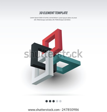 3d Element Template design - stock vector