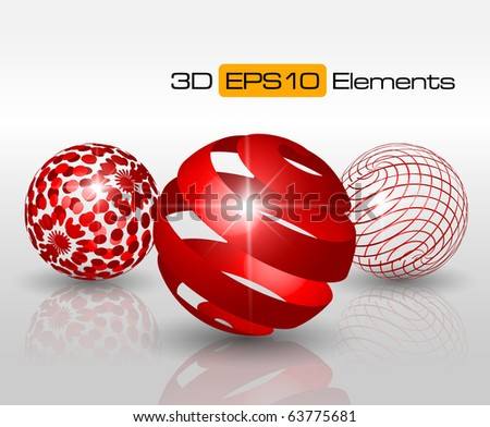 3D elements for print and web - vector illustration - stock vector