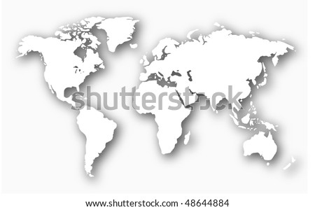 3D Embossed White World Map (Vector) - stock vector