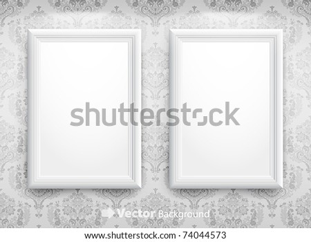 3d empty frames on the wall. Vintage background - stock vector