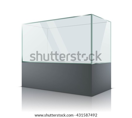 3d Empty glass showcase for exhibit. Vector illustration - stock vector