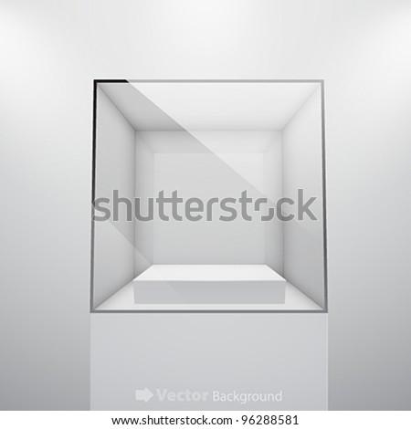 3d Empty glass showcase for exhibit. Vector illustration. - stock vector
