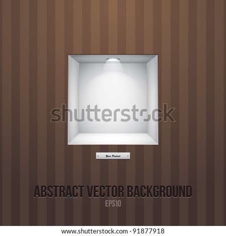 3d Empty Shelf For Exhibit In The Wall Brown eps10 - stock vector