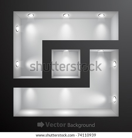 3d Empty shelf for exhibit in the wall. Vector illustration. - stock vector