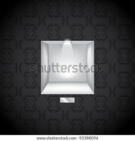 3d Empty shelf for exhibit in the wall. Vector illustration - stock vector