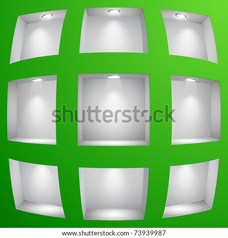3d Empty shelves for exhibit in the wall with fish eye effect. Vector illustration. - stock vector