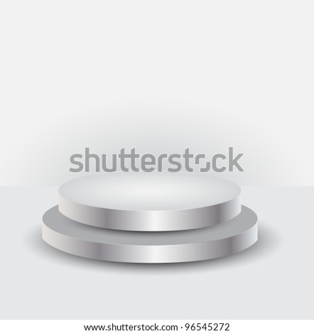 3d Empty white podium for your exhibit,vector illustration - stock vector