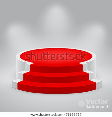 3d empty white podium with red carpet. Vector illustration. - stock vector