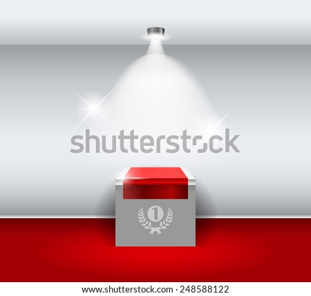 3d Empty white stand for your exhibit with red carpet. Vector illustration. - stock vector