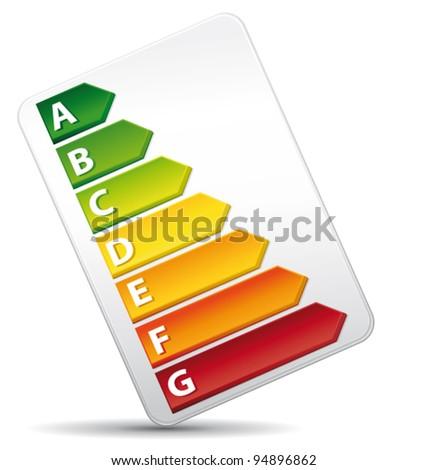 3D Energy Rating Graph diagnosis. Vector icon. - stock vector
