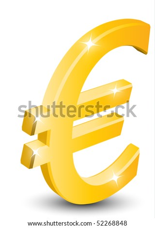 3D euro sign isolated on white background - stock vector