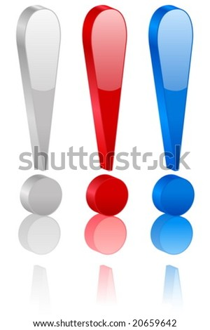 3D exclamation symbol set. Vector illustration. - stock vector