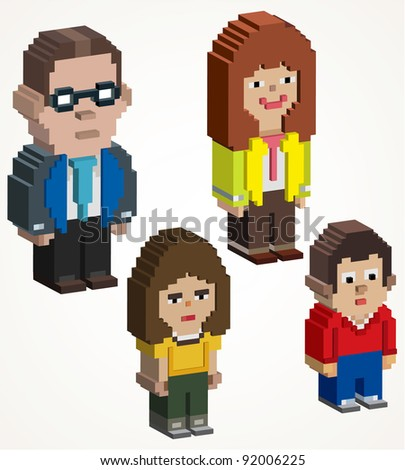 3D family pixel art, 3d maded pixel icon - stock vector
