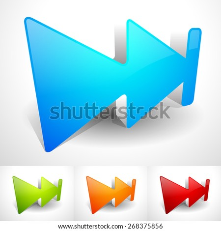 3d Fast Forward Buttons in Bright, Vivid Colors with Drop Shadows. Tracklist / Playlist Control Button, or Icons for Advancement Concept - stock vector