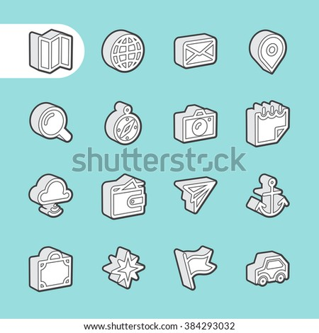 3D Fat Line Icon set for web and mobile. Modern minimalistic flat design elements of traveling and navigation tools - stock vector