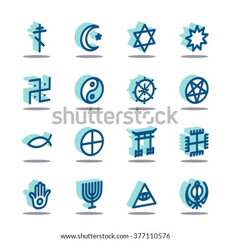 3D Fat Line Icon set for web and mobile. Modern minimalistic flat design elements of world religious symbols - stock vector