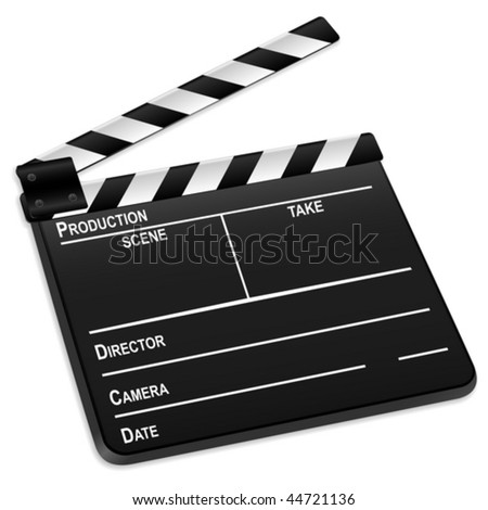 3d film slate isolated on a white background. Vector illustration. - stock vector