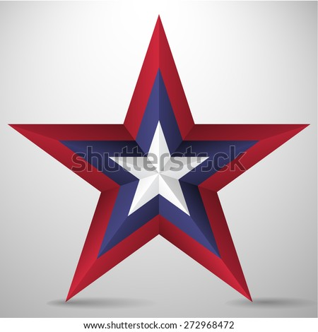 3D five pointed star  - stock vector