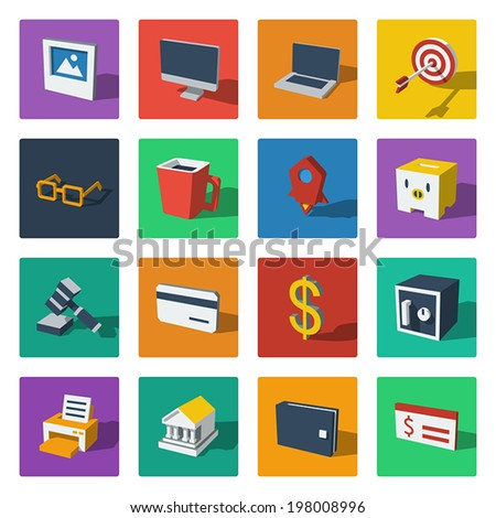3D flat icons vector web design object, business, office, marketing, financial. Colorful - stock vector