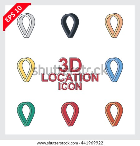 3d flat location icon eps10 vector file - stock vector