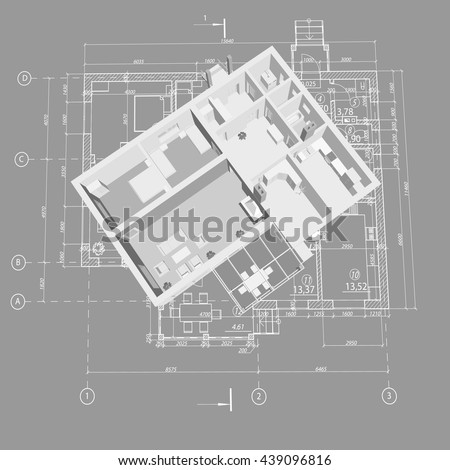 3D floor plan. Vector blueprint. Apartment interior. Architectural 3D design. - stock vector